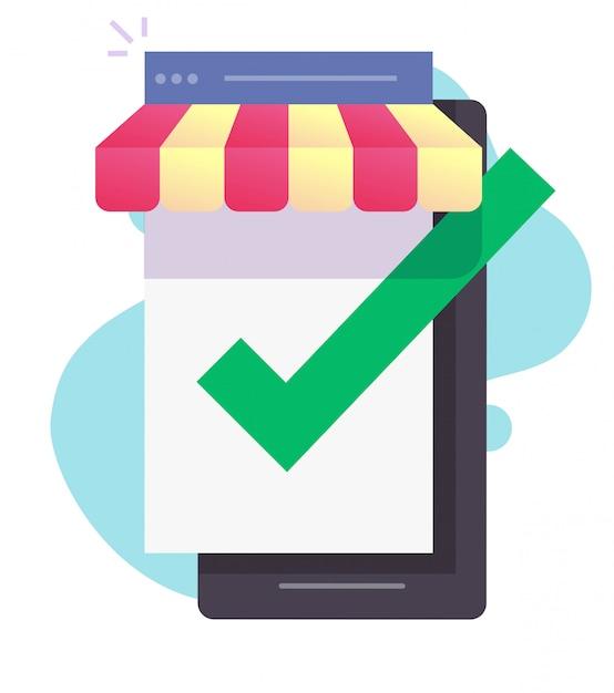 휴대 전화 화면 벡터에 인터넷 상점 상점 온라인 전자 상거래 프리미엄 벡터