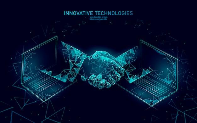 インターネット技術3 d実業家握手。ビジネス金融契約契約の概念。成功webネットワーク低ポリ Premiumベクター