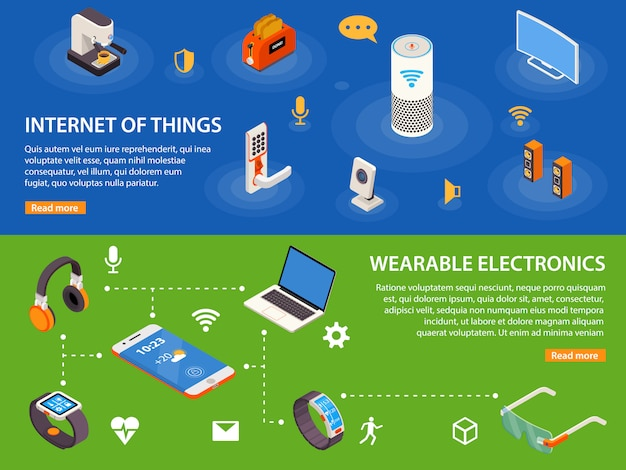 Internet of things 2 isometric banners Free Vector