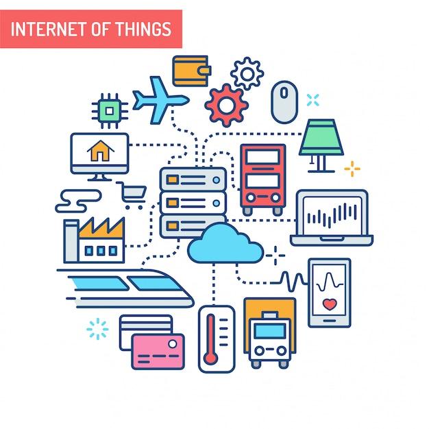 Internet of things conceptual illustration Premium Vector