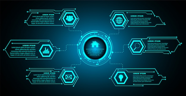 Internet of things cyber circuit technology Premium Vector