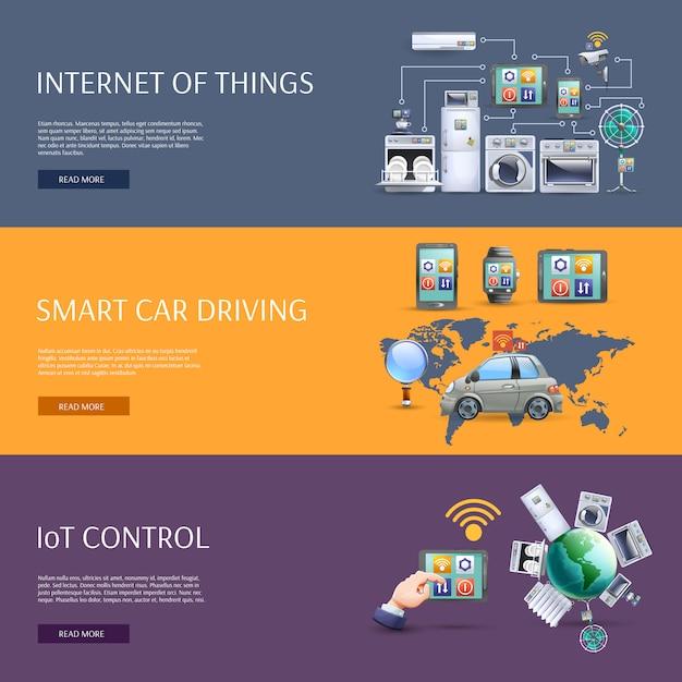 Internet of things flat banners set Premium Vector