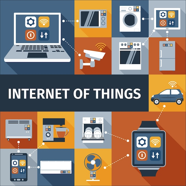 Internet of things flat icons composition Free Vector