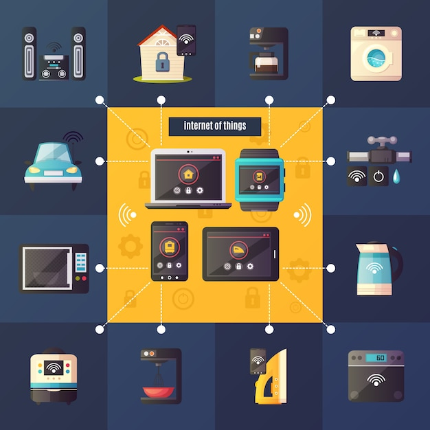 Internet of things home automation system iot retro cartoon composition poster Free Vector