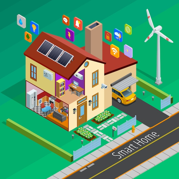 Internet of things home isometric poster Free Vector