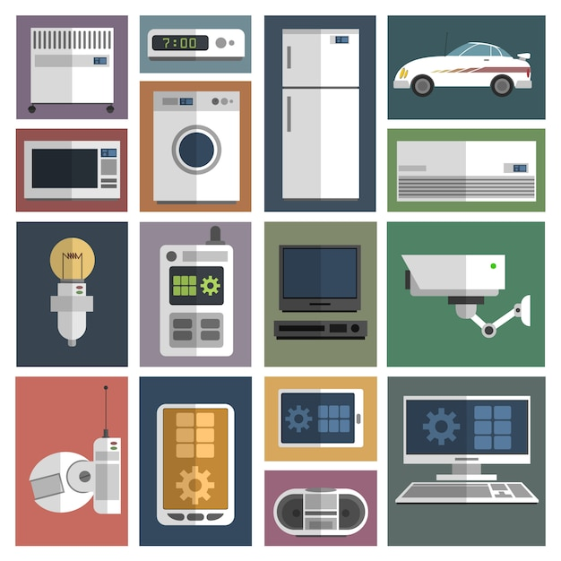 Internet things icons set flat Free Vector