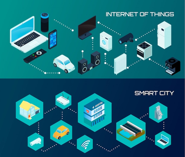 Internet of things iot and smart city banners Free Vector
