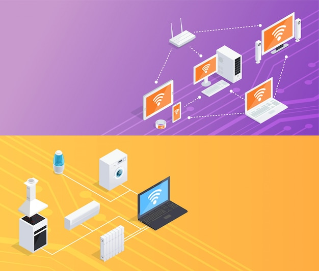 Internet things  isometric banners set Free Vector