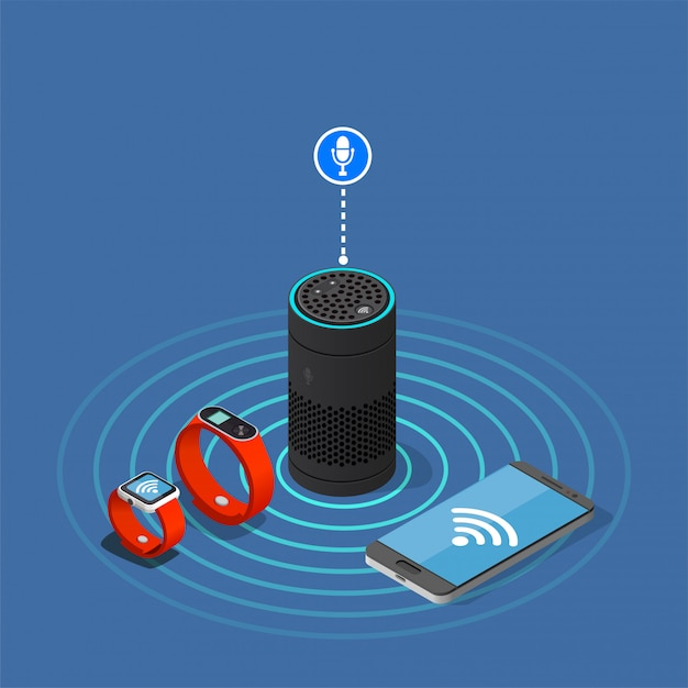 Internet of things isometric composition Free Vector
