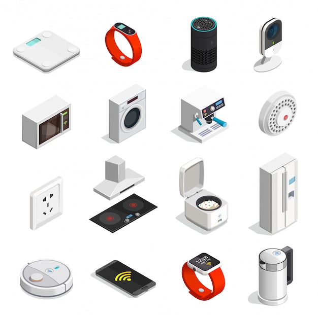 Internet of things isometric icons Free Vector