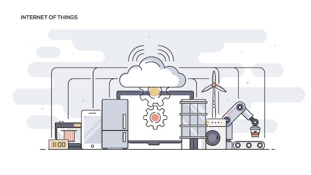 Internet of things  line ed banner Premium Vector
