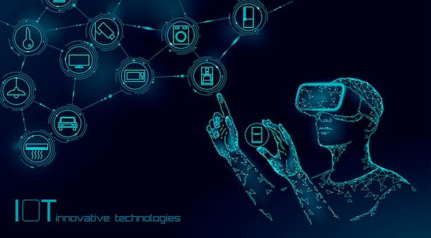 Internet of things modern operation by vr glasses innovation technology concept. wireless communication augmented reality network iot ict. Premium Vector