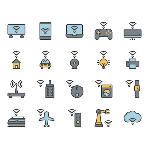 Internet of things related icon and symbol set Premium Vector