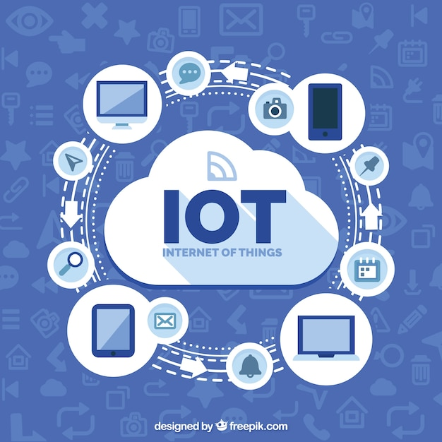 Internet of things with cloud background Free Vector