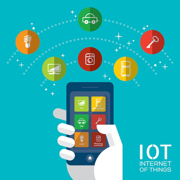 Internet of things with smartphone concept illustration Premium Vector