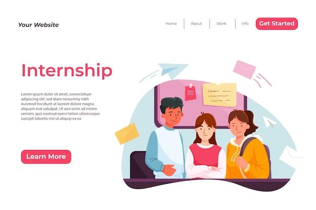 Internship job home page template Free Vector
