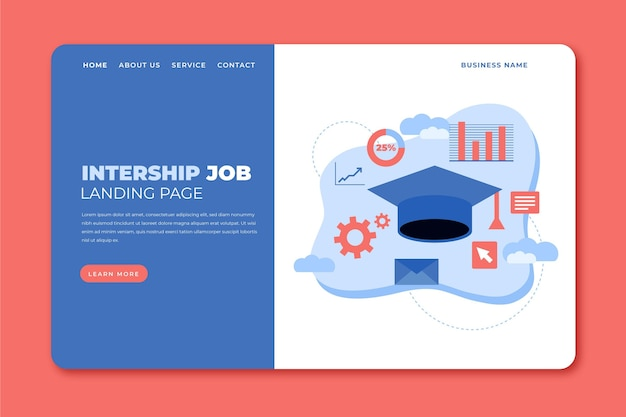 Internship job landing page template Free Vector