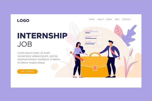 Internship job landing page Premium Vector
