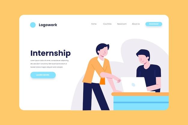 Internship job landing page Free Vector