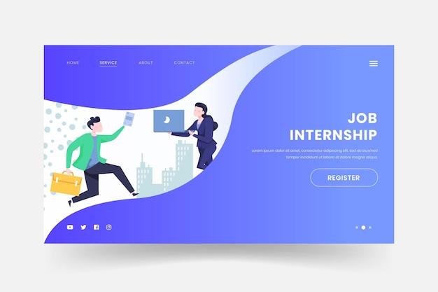 Internship job web page template Free Vector