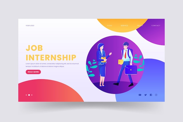 Internship job web template illustrated Free Vector