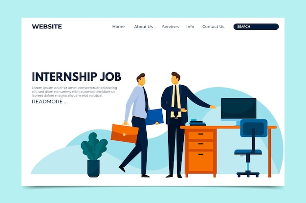 Internship job web template Free Vector
