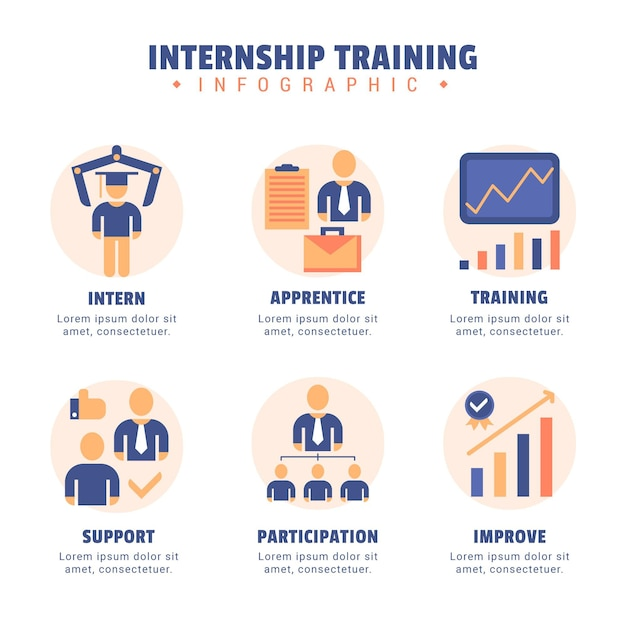 Internship training infographic illustrated Free Vector