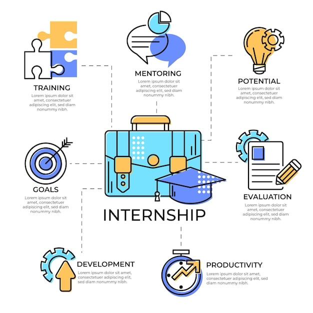 Internship work training infographic Free Vector