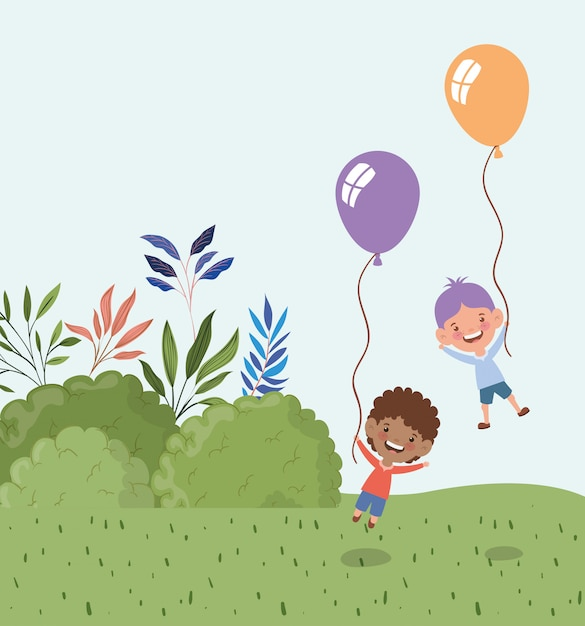 Interracial boys with balloons helium in the landscape Free Vector