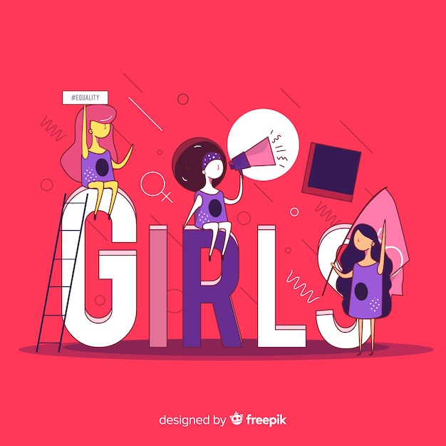 Interracial group of women backgrpund Free Vector