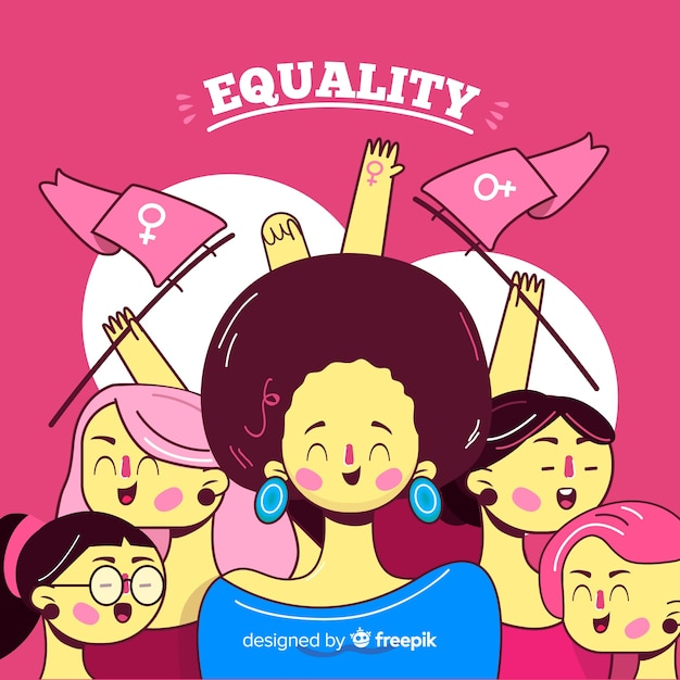 Interracial group of women backgrpund Free Vector