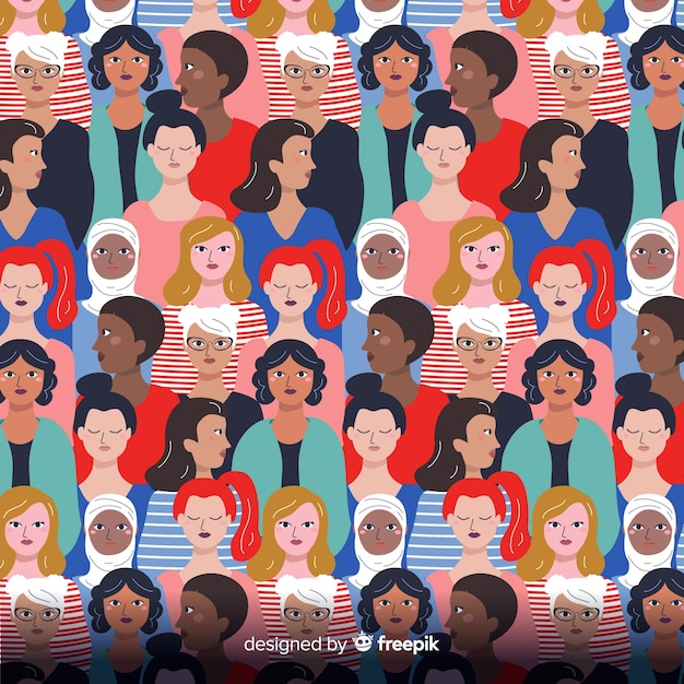 Interracial group of women pattern Free Vector