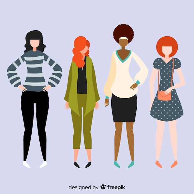 Interracial group of women Free Vector