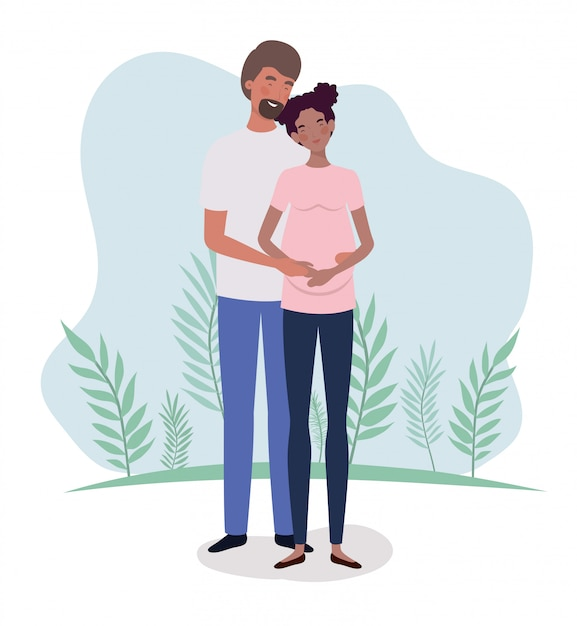 Interracial lovers couple pregnancy characters in the landscape Free Vector