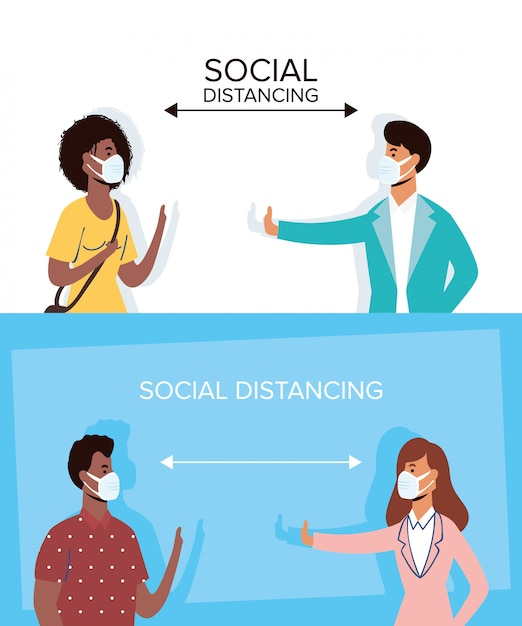 Межрасовые люди в медицинских масках и социальное дистанцирование Premium векторы