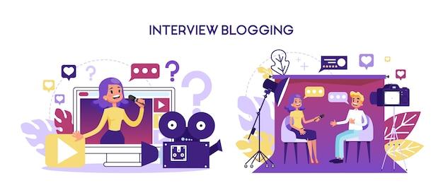インタビューのブログのコンセプト。ジャーナリストはインタビューを受けています Premiumベクター