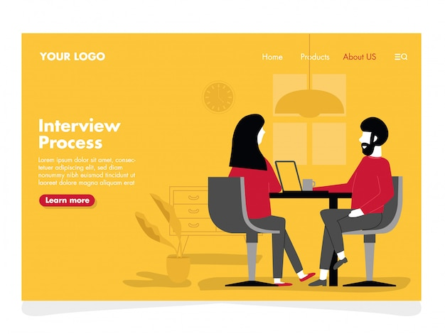 Interview illustration for landing page Premium Vector