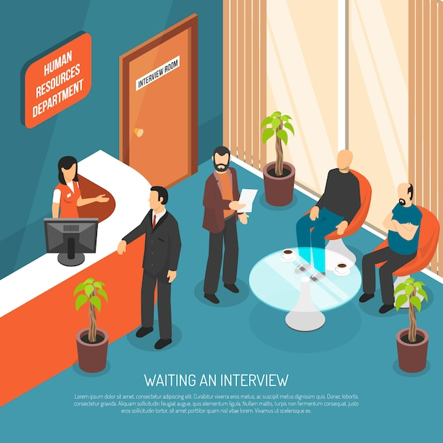 Interview waiting area illustration Free Vector