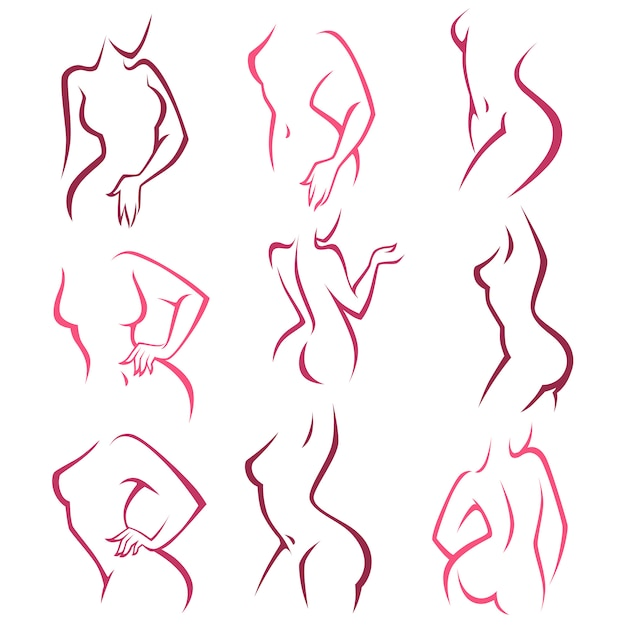 Intimate hygiene,  lady poses collection for your logo Premium Vector