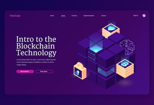 Introduzione alla pagina di destinazione isometrica della tecnologia blockchain. Vettore gratuito
