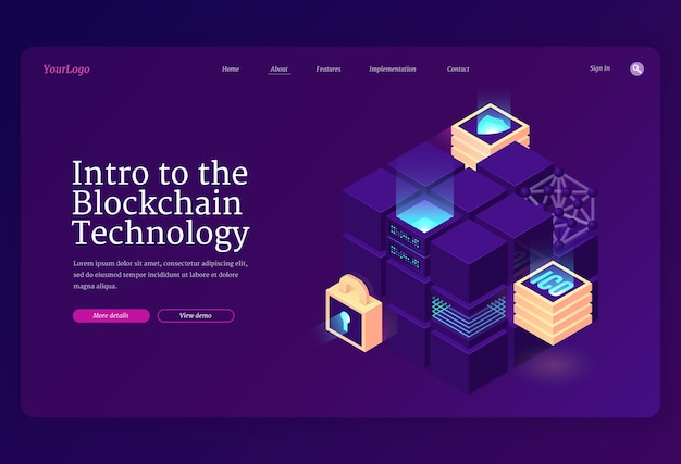 Intro to blockchain technology isometric landing page. Free Vector