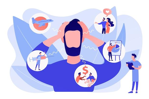 내향성, 광장 공포증, 공공 장소 공포증. 정신 질환, 스트레스. 사회 불안 장애, 불안 선별 검사, 불안 발작 개념. 분홍빛이 도는 산호 bluevector 고립 된 그림 무료 벡터