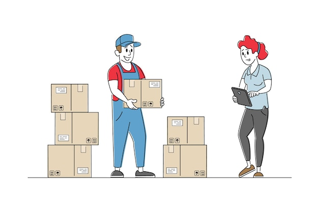 Inventory manager characters accounting goods lying in carton boxes on rack in warehouse Premium Vector