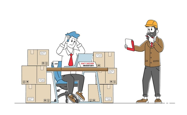 Inventory manager characters work in warehouse Premium Vector