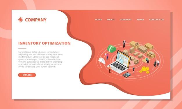 Концепция оптимизации инвентаря для шаблона веб-сайта или дизайна домашней страницы с изометрической векторной иллюстрацией Бесплатные векторы