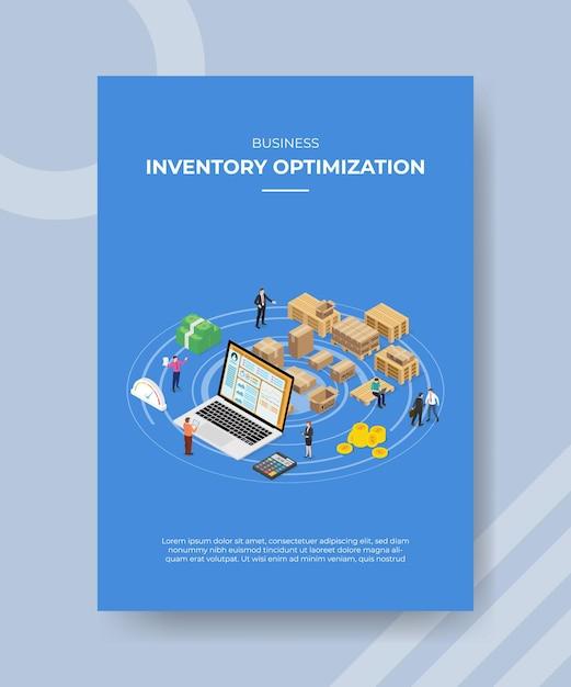 Шаблон плаката концепции оптимизации инвентаризации с изометрической векторной иллюстрацией стиля Premium векторы