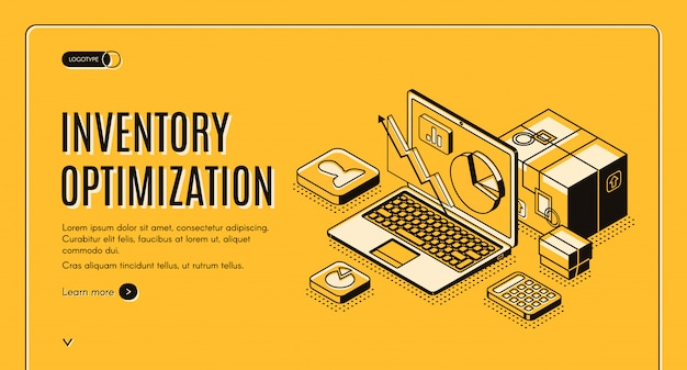 Inventory optimization isometric banner Free Vector