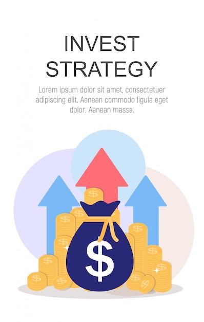 Инвест стратегии концепция плоский фон. иллюстрация Premium векторы