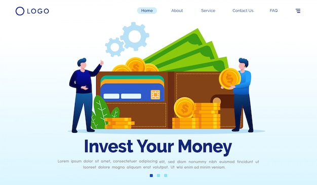 Invest your money landing page flat vector template Premium Vector