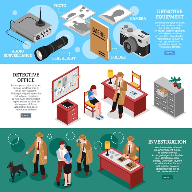 Investigating officer banners collection Free Vector